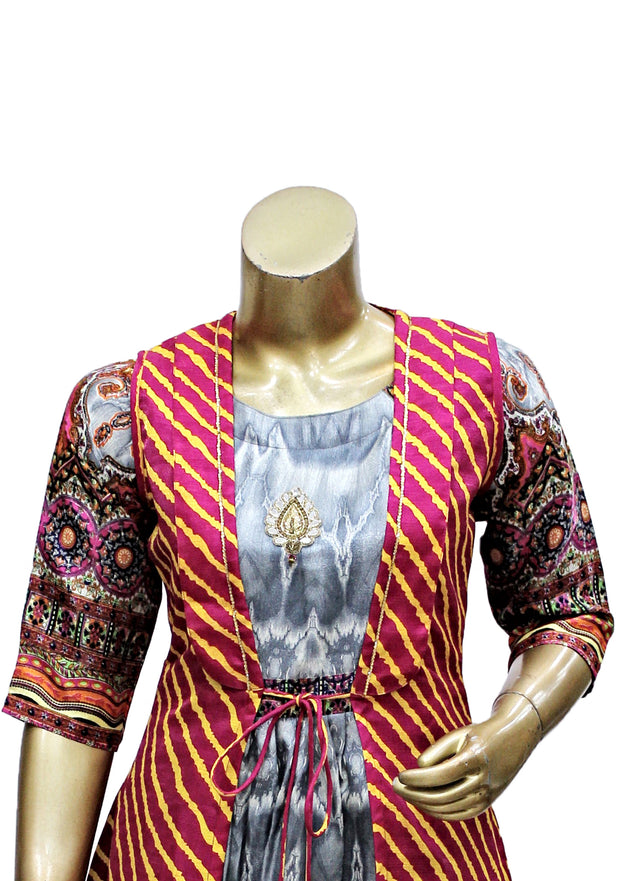 Satin Silk Floor Length Jacket Kurti