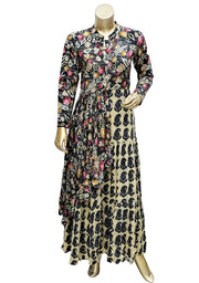 Mandarin Collar Digital Printed Floor Length Kurti