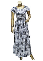 Digital Printed Boat-Neck Long Kurti