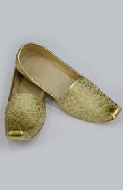 Mens Ethnic Gold Brocade Jutti Mojari
