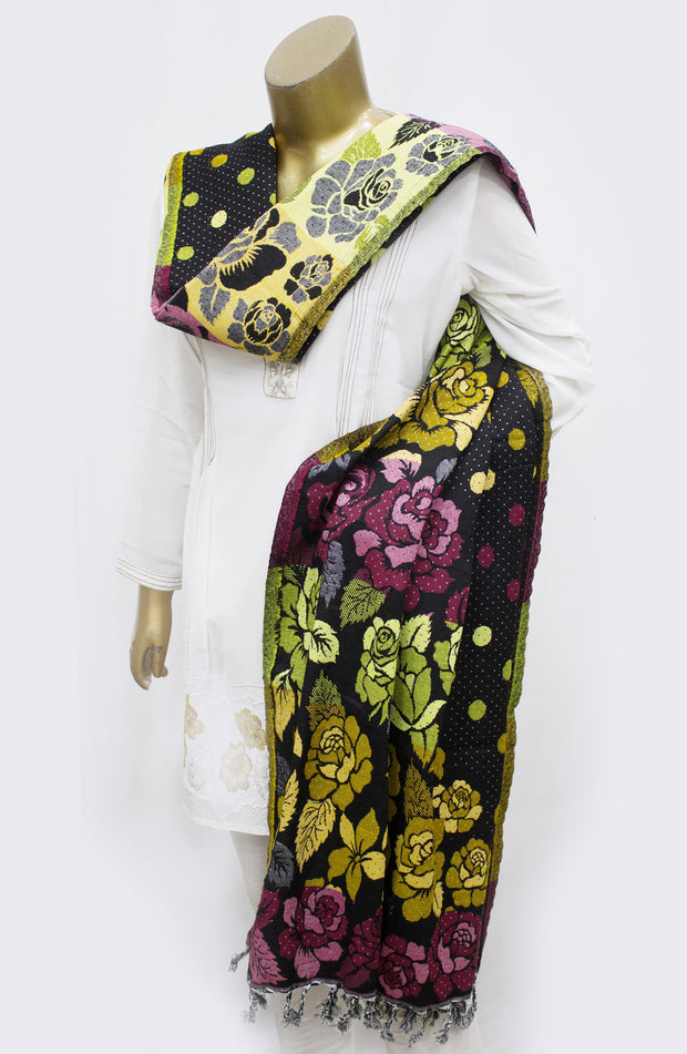 Reversable Floral Woven Shawl