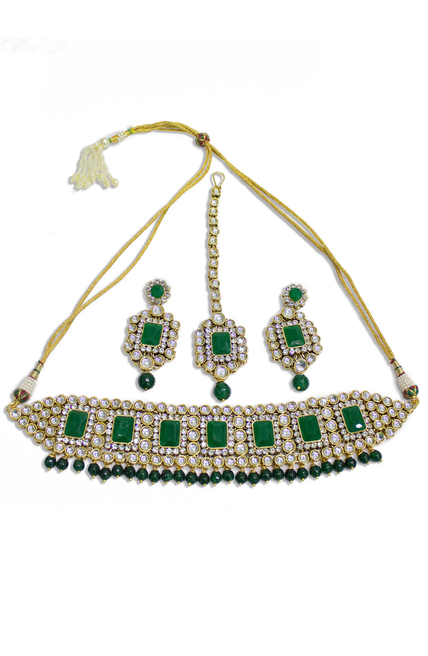 Kundan And Green Beads Choker Necklace Set