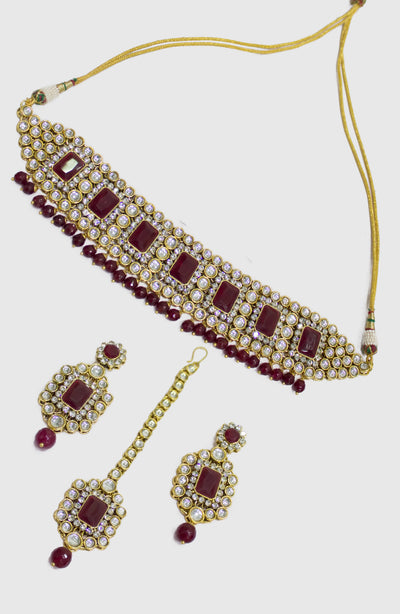 Kundan And Maroon  Beads Choker Necklace Set