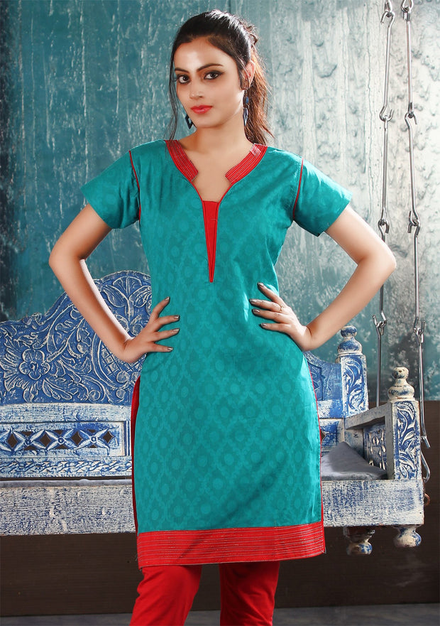 Peacock Blue cotton kurti