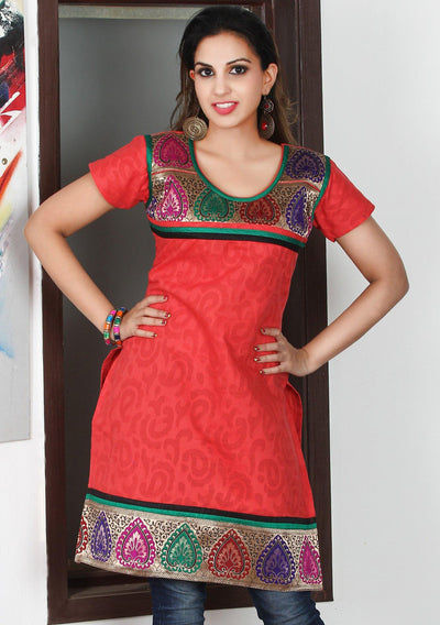 Water Melon Red Cotton Kurti