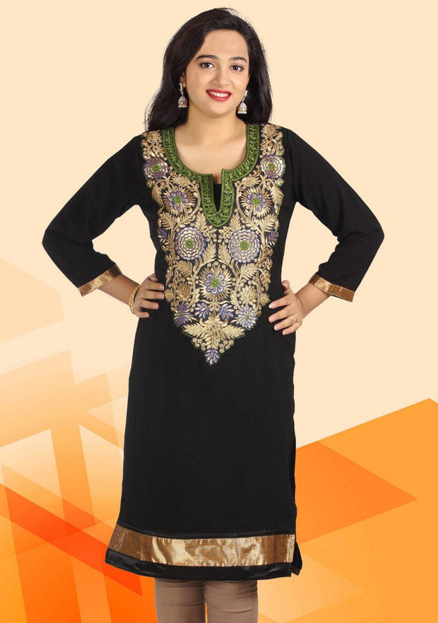 Black & Golden Embroidered Kurti