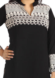 Black & White Embroidered Kurti