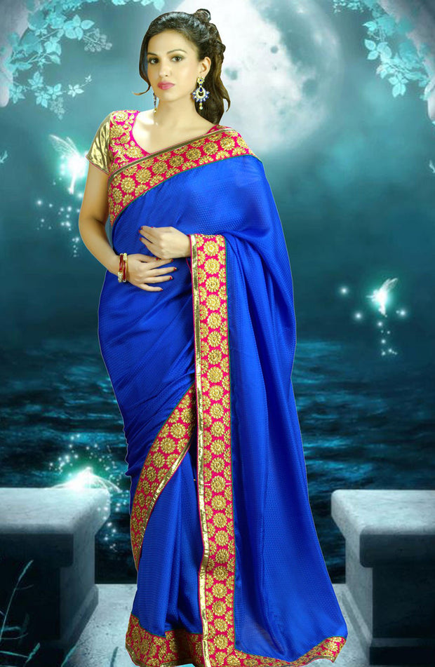 HEAVY EMBROIDERED BLOUSE CHIFFON SAREE