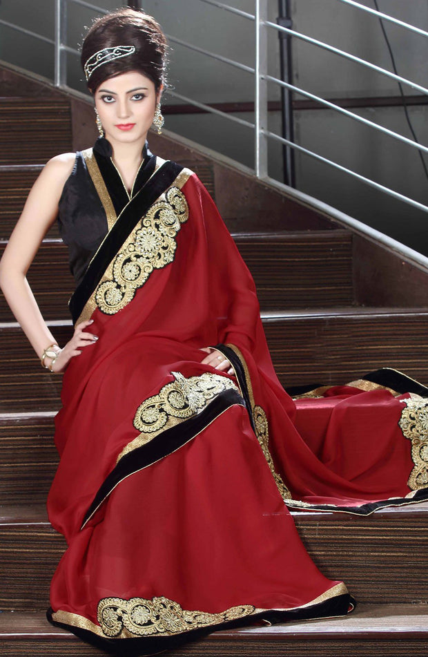 EMBROIDERED PATCH WORK CHIFFON SAREE