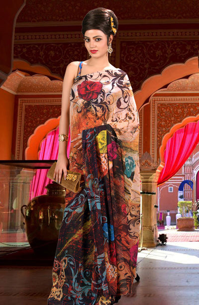DIGITALLY FLORAL PRINTED CHIFFON SAREE