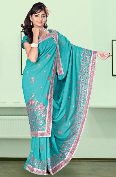 RESHAM EMBROIDERED SAREE