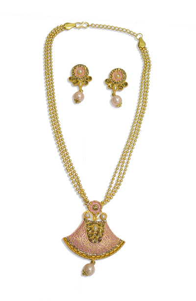 Ethnic Peach Pendant Set