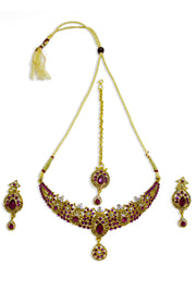 Magenta Stoned Gold Plated Set