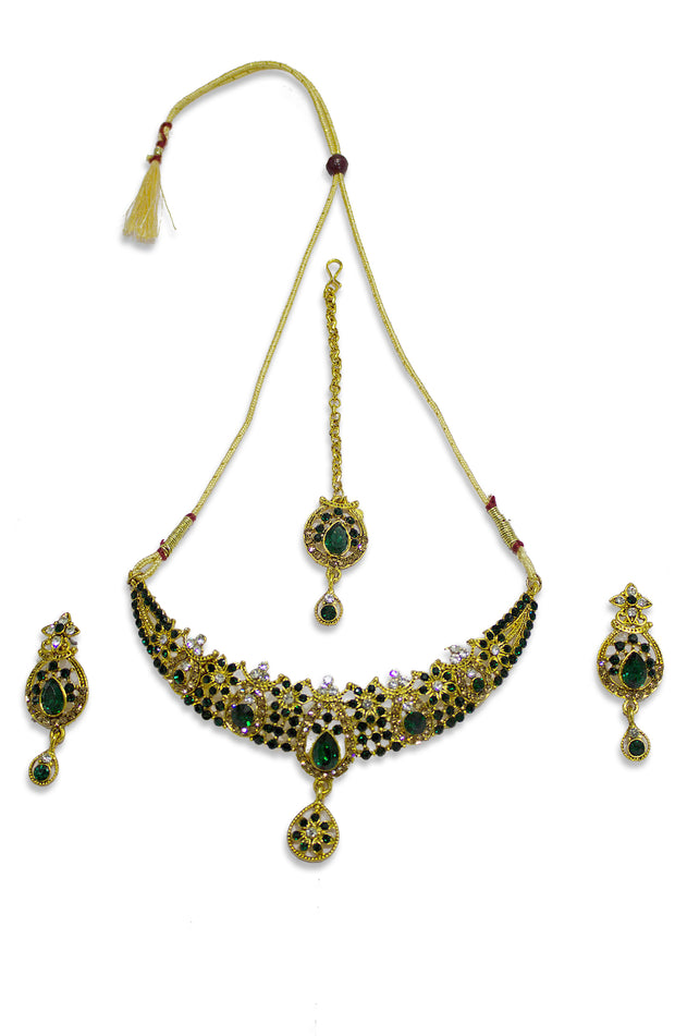 Emerald Stoned Studded Gold Plated Set
