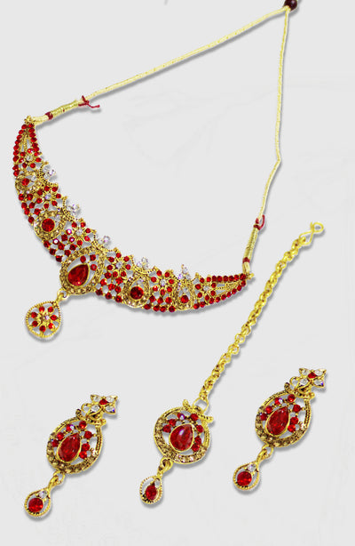 Red Stoned Studded Gold Plated Set