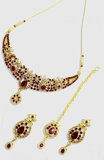 Maroon Stoned Gold Plated Set