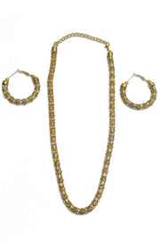 Diamond Studded Gold Chain With Hoops