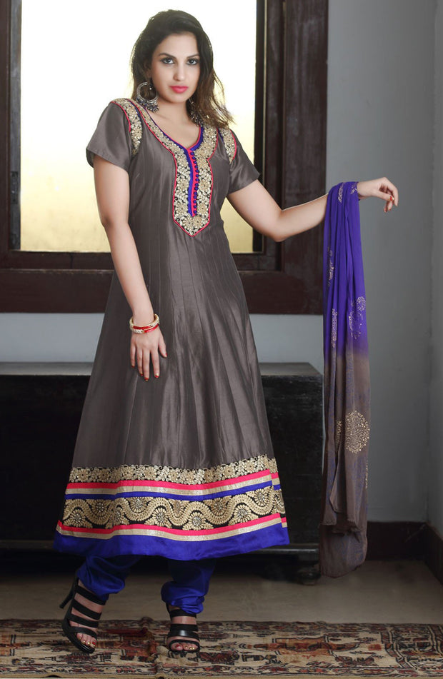 GREYISH COTTON ANARKALI SUIT