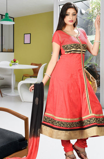 CORAL ORANGE COTTON ANARKALI SUIT
