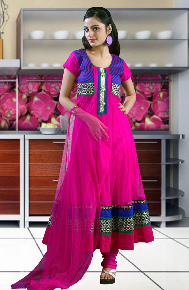 EMBROIDERED NET ANARKALI  SUIT