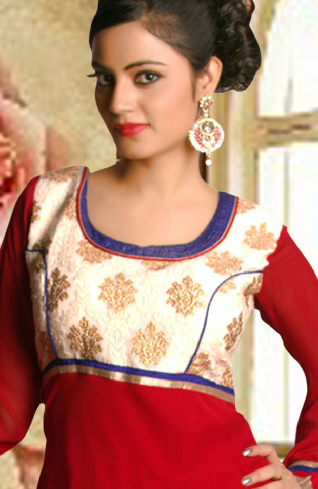 MAROON FAUX GEORGETTE CHURIDAR SET