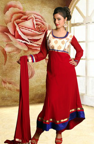 Adorning Maroon Faux Georgette
