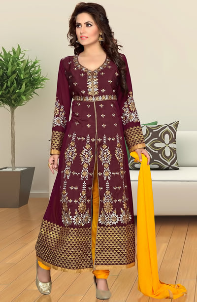 HEAVY EMBROIDERED SATIN SUIT