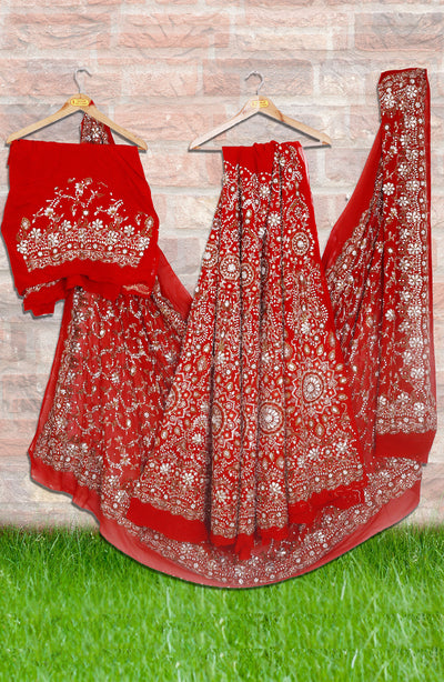 Bright Red Pure Crepe Lehenga In Glimmering Stone Work