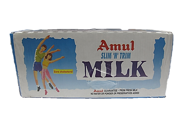 Amul Slim N Trim Milk 1L 1 Carton (12 Packets)