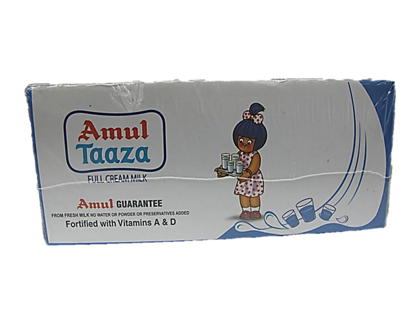 Amul Taaza Full Cream Milk 1L 1 Carton (12 Packets)