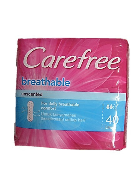 Carefree Breathable Unscented 156mm & 2.5mm Thick 40 Liners