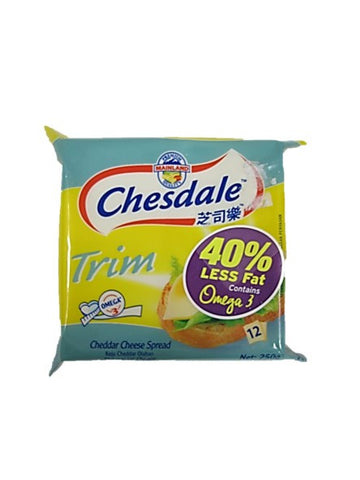 Chesdale Trim Cheddar Cheese Spread 40% Less Fat Contains Omega 3 12 Pieces 250g