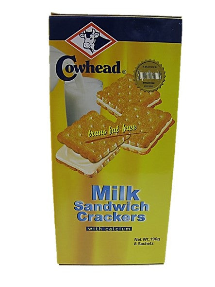 Cowhead Milk Sandwich Crackers with Calcium Trans Fat Free 190g 8 Sachets