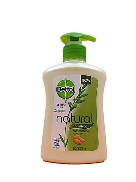 Dettol Natural Nourishing with Natural Olive & Almond Anti-Bacterial Hand Wash 250ml