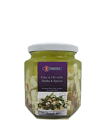 Emborg Eurpean Feta Cheese Cubes in Oil with Herbs & Spices 300g