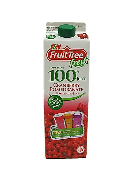 Fruit Tree Fresh 100% Cranberry Pomegranate & Apple Mixed Juice No Sugar Added 1L