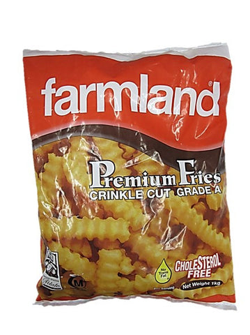 Farmland Premium Fries Crinkle Cut Grade A No Trans Fat Cholesterol Free 1kg