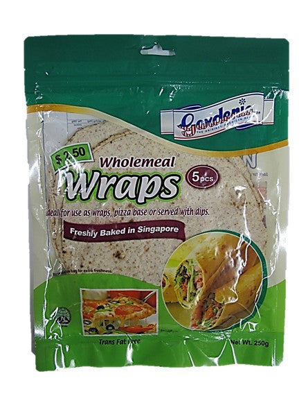 Gardenia Trans Fat Free Wholemeal Wraps (Ideal for use as wraps, pizza base or served with dips) 5 Pieces 250g