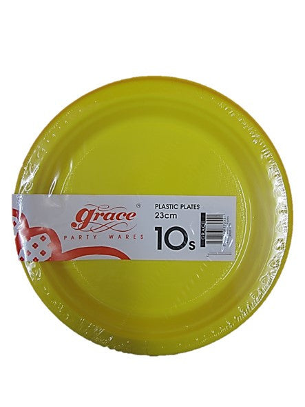 Grace Coloured Plastic Plates 23cm Diameter 10 Plates Pack