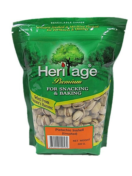 Heritage Premium Pistachio Inshell Unsalted (For Snacking & Baking) 500g