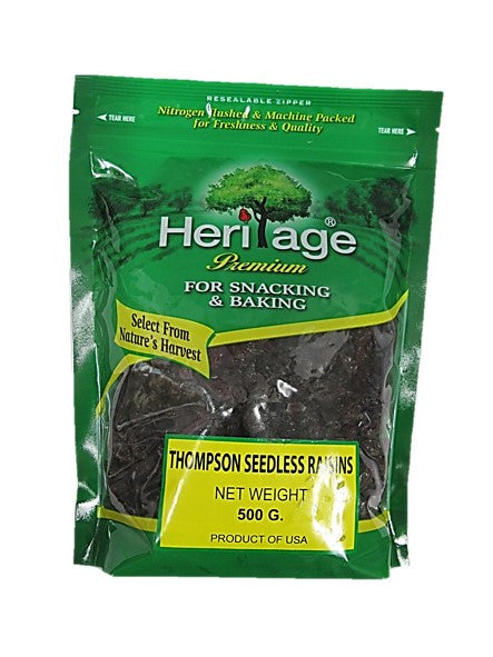 Heritage Premium Thompson Seedless Raisins 500g