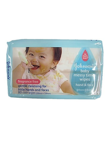 Johnson's Baby Messy Times Wipes Hand & Face Fragrance Free 80 Wipes