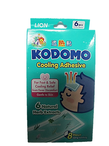 Kodomo Cooling Adhesive For Fever Discomfort (6 Natural Herb Extracts) 6 Pieces (110 x 50mm)