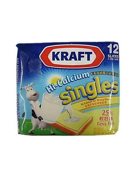 Kraft Hi-Calcium Singles Cheddar Cheese 25% Less Fat 12 Slices