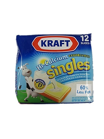 Kraft Hi-Calcium Singles Cheddar Cheese 60% Less Fat 12 Slices
