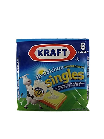 Kraft Hi-Calcium Singles Cheddar Cheese 6 Slices