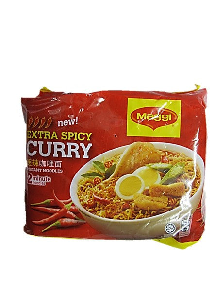Maggi New Extra Spicy Curry (Bigger & Spicier) Instant Noodle 5 Packets Pack