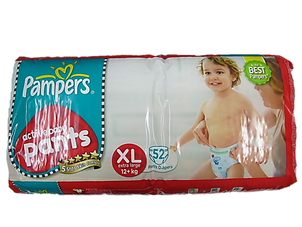 Pampers Active Baby Pants Xlarge (12+kg) 52 Diapers