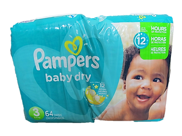 Pampers Baby Dry 3 (Up to 5-8kg) 64 Diapers