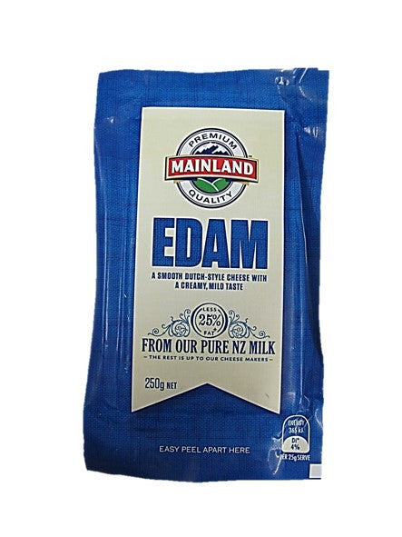Premium Quality Mainland Edam Cheese Block Less 25% Fat 250g
